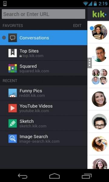 خيارات كثيرة وتشكيلة واسعة من الإعدادات تحميل كيك ماسنجر 2015 download kik messenger
